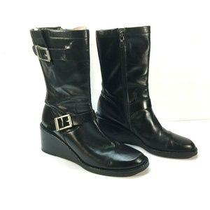 Zip Wedge BLACK Boots Shoes Mid Calf